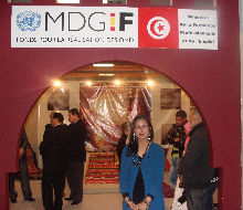 El Salón Nacional de Artesanía 2012, apoyado por el programa, donde 700 expositores exhibieron y vendieron sus mercancías desde todos los rincones de Túnez