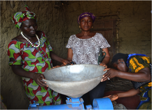 Women beneficiaries from village Debrimou received grinding machine for yuca processing