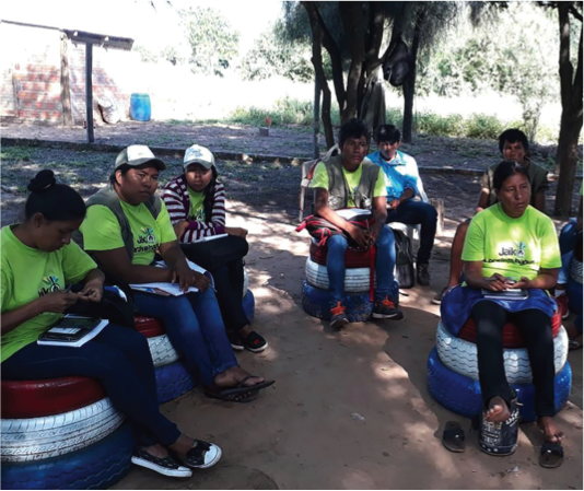 Training in indigenous community on issues related to food and nutrition security in Guarani language