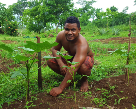 Iese Mata'ia is one of the beneficiaries who learnt about organic agricultura and now is building own small vegetable garden to supply restaurants and the flourishing tourism industry