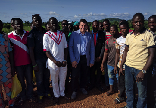 SDG Fund Ambassador Josep Roca with Jere young farmers participating in joint programme