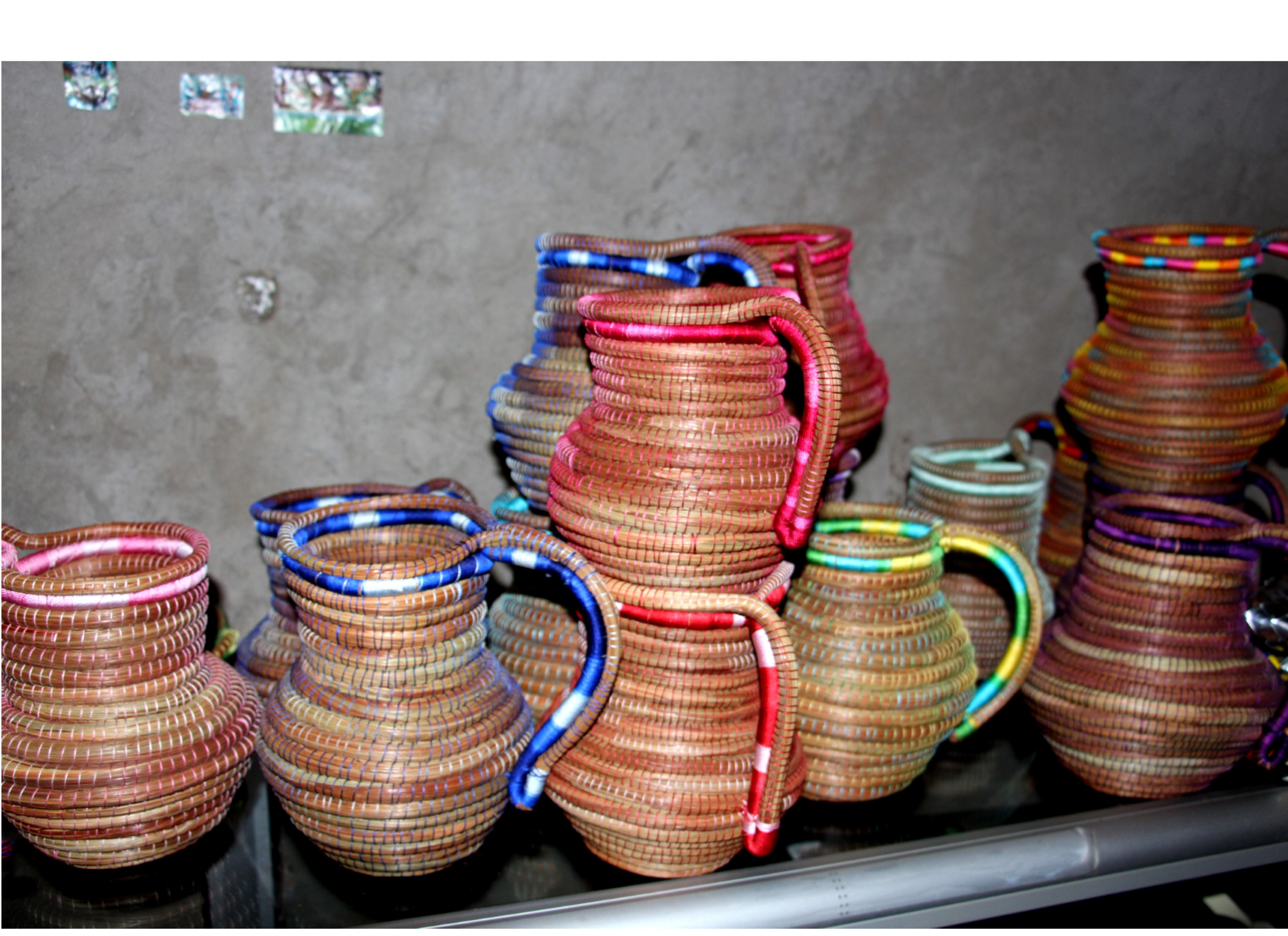 Traditional hand-woven baskets made by programme beneficiaries